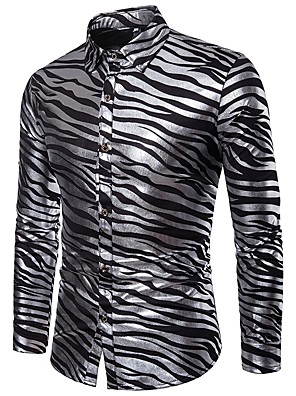 cheap Men's Shirts-Men's Striped Print Shirt Luxury Basic Sexy Party Daily Club White / Black / Red / Long Sleeve