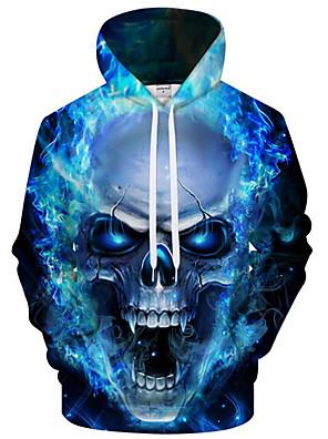 billiga Huvtröjor och sweatshirts till herrar-Herr Plusstorlekar Huvtröja 3D Tecknat Tryck Huva Aktiv drivna Pull Tröjor Långärmad Ledig Blå / Höst / Vinter