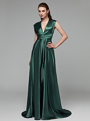 cheap Special Occasion Dresses-A-Line Elegant Minimalist Open Back Prom Formal Evening Dress Plunging Neck Sleeveless Sweep / Brush Train Satin Chiffon with Bow(s) Split Front 2020