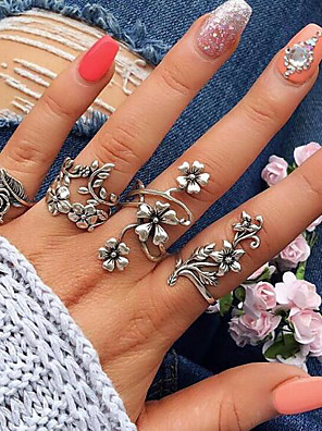 cheap Quartz Watches-Women's Open Cuff Ring Ring Set thumb ring 4pcs Silver Alloy Circle Geometric Ladies Unusual Unique Design Wedding Daily Jewelry Vintage Style Hollow Out Leaf Flower Cool