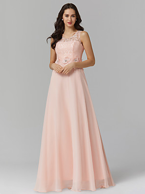 cheap Prom Dresses-A-Line Empire Pink Wedding Guest Prom Dress Illusion Neck Sleeveless Floor Length Chiffon Corded Lace with Beading Appliques 2020