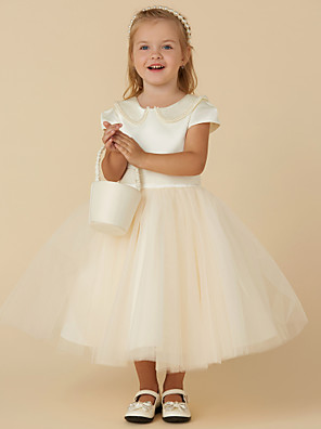 cheap Flower Girl Dresses-Ball Gown Tea Length Pageant Flower Girl Dresses - Satin / Tulle Short Sleeve Jewel Neck with Pearls / Beading