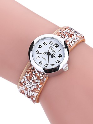cheap Quartz Watches-Women's Bracelet Watch Quartz Quilted PU Leather Black / White / Blue New Design Casual Watch Imitation Diamond Analog Ladies Casual Fashion - Gray Red Blue One Year Battery Life