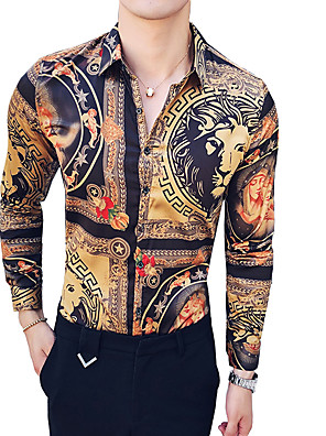 cheap Shirts-Men's Animal Tribal Slim Shirt Vintage Daily Going out Classic Collar Brown / Summer / Long Sleeve