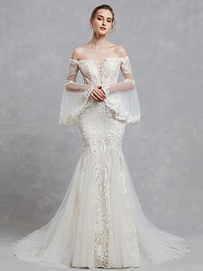 cheap Wedding Dresses-Mermaid / Trumpet Wedding Dresses Off Shoulder Court Train Lace Tulle Long Sleeve Romantic Boho See-Through Backless Illusion Sleeve with Lace Appliques 2020