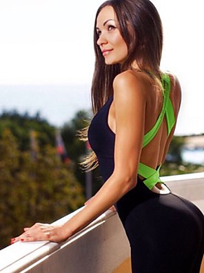 cheap Athletic Swimwear-Women's Workout Jumpsuit Cross Back Fashion Yellow Fuchsia Orange Yoga Pilates Dance High Waist Bodysuit Romper Sleeveless Sport Activewear Moisture Wicking Butt Lift Tummy Control High Elasticity