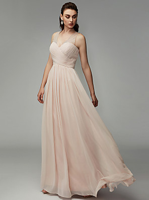 cheap Special Occasion Dresses-A-Line Chic & Modern Elegant Formal Evening Black Tie Gala Dress V Neck Sleeveless Floor Length Chiffon with Pleats Beading 2020
