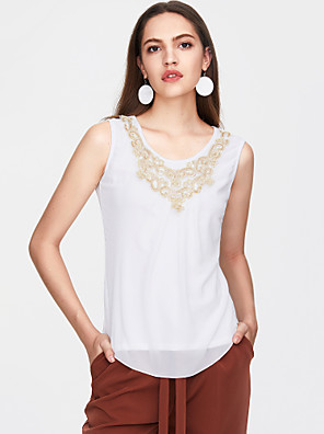 cheap Women's T-shirts-Women's Plus Size Solid Colored Sequins Blouse Street chic Daily Weekend White / Black