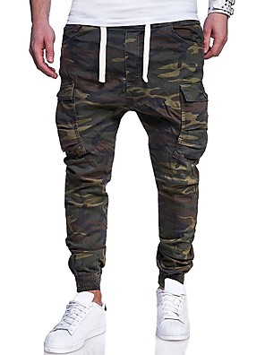 cheap Men's Pants & Shorts-Men's Active Basic Military Plus Size Weekend Slim Sweatpants Tactical Cargo Pants - Camo / Camouflage Print Army Green M / L / XL