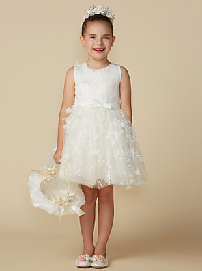 cheap Junior Bridesmaid Dresses-Princess Short Length Wedding / First Communion Lace Sleeveless Jewel Neck with Belt / Bow(s)