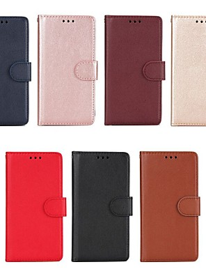 رخيصةأون Huawei أغطية / كفرات-غطاء من أجل Huawei Honor 6X / Honor 6A / Mate 10 محفظة / حامل البطاقات / مع حامل غطاء كامل للجسم لون سادة قاسي جلد PU