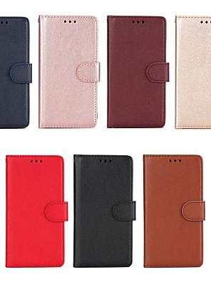 billige Etuier/deksler til Huawei-Etui Til Huawei Honor 6X / Honor 6A / Mate 10 Lommebok / Kortholder / med stativ Heldekkende etui Ensfarget Hard PU Leather