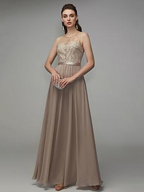 cheap Wedding Dresses-A-Line Elegant Beaded & Sequin Formal Evening Dress Jewel Neck Sleeveless Floor Length Chiffon with Beading 2020