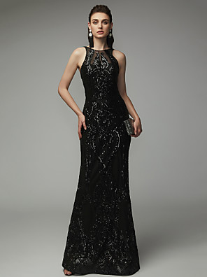 cheap Prom Dresses-Sheath / Column Elegant & Luxurious Open Back Beaded & Sequin Formal Evening Black Tie Gala Dress Jewel Neck Sleeveless Floor Length Sequined with Sequin 2020