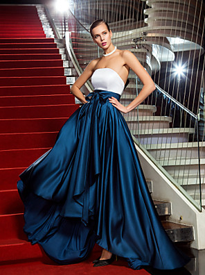 cheap Prom Dresses-A-Line Color Block High Low Formal Evening Black Tie Gala Dress Strapless Sleeveless Asymmetrical Satin with Bow(s) Pleats 2020