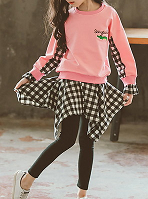 cheap Girls' Dresses-Kids Girls' Basic Print Color Block Check Long Sleeve Cotton Clothing Set Red