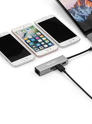 cheap Wireless Chargers-Waza 4 in 1 USB Hub USB 3.1 Type-c to 3 Ports USB 3.0 1Gbps Gigabit RJ45 Ethernet Network Adapter  Aluminum Body Supports Windows Android Mac and More