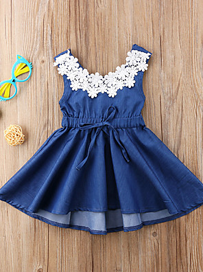 cheap Girls' Dresses-Kids Girls' Active Sweet Daily Solid Colored Lace Backless Lace up Sleeveless Knee-length Dress Blue