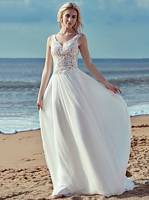 cheap Mother of the Bride Dresses-A-Line Wedding Dresses V Neck Sweep / Brush Train Lace Tulle Regular Straps Cutouts with Lace Ruffles 2020