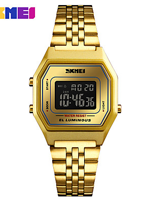 cheap Fashion Watches-SKMEI Women's Sport Watch Digital Watch Japanese Digital 30 m Water Resistant / Water Proof Alarm Calendar / date / day Stainless Steel Band Digital Casual Fashion Gold / Pool - Blue Gold / Black