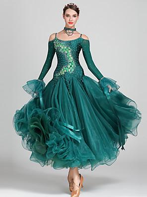 cheap Ballroom Dancewear-Ballroom Dance Dress Appliques Crystals / Rhinestones Women's Performance Long Sleeve High Spandex Organza