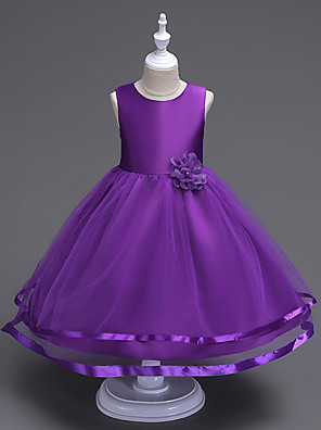 cheap Girls' Dresses-Kids Girls' Sweet Cute Party Holiday Solid Colored Sleeveless Knee-length Dress Purple / Cotton