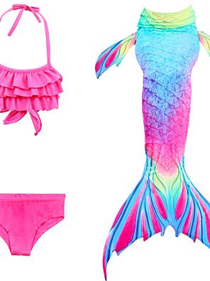 cheap Girls' Swimwear-Kids Girls' Active Sports Mermaid Tail The Little Mermaid Color Block Sleeveless Cotton Swimwear Yellow