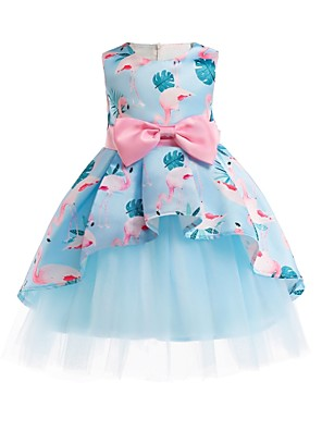 cheap Girls' Dresses-Kids Girls' Vintage Street chic Party Going out Floral Animal Print Sleeveless Knee-length Dress Blue / Cotton