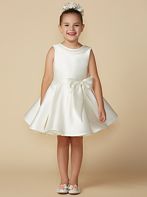 cheap Flower Girl Dresses-Princess Above Knee Wedding / First Communion Satin Sleeveless Jewel Neck with Bows
