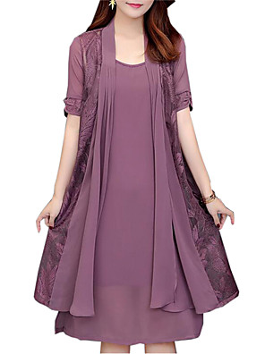 cheap Cocktail Dresses-Women's Plus Size Two Piece Dress - Short Sleeve Solid Colored Lace Spring Fall Daily Loose Black Purple Red Navy Blue L XL XXL XXXL XXXXL