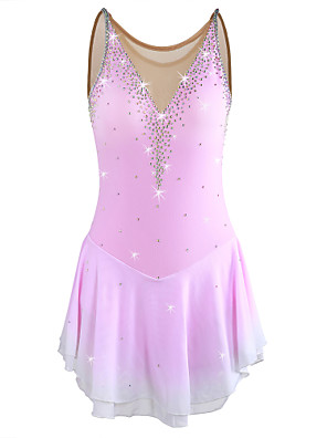 cheap Ice Skating Dresses , Pants & Jackets-Figure Skating Dress Women's Girls' Ice Skating Dress Pale Pink Halo Dyeing Spandex High Elasticity Competition Skating Wear Warm Handmade Jeweled Rhinestone Sleeveless Ice Skating Figure Skating