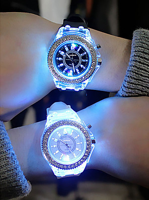 cheap Quartz Watches-Men's Women's Sport Watch Led Watch Quartz Colorful Chronograph Silicone Black / White / Orange Analog - Navy White Black One Year Battery Life / Luminous / Noctilucent / SSUO 377