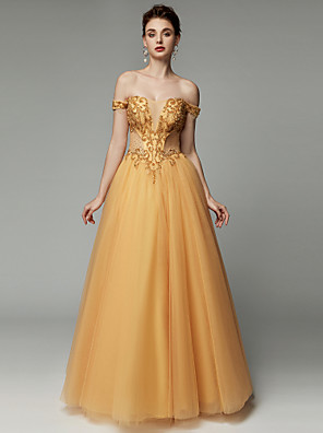 cheap Prom Dresses-Ball Gown See Through Beaded & Sequin Quinceanera Formal Evening Dress V Wire Sleeveless Floor Length Tulle with Beading 2020