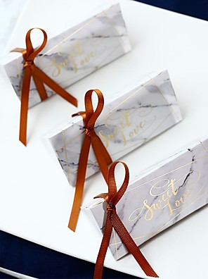 cheap Favor Holders-Triangle Card Paper Favor Holder with Ribbons Favor Boxes - 12pcs