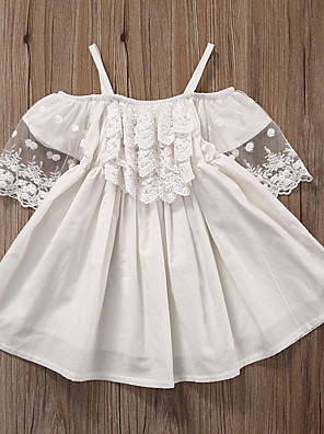 cheap Girls' Dresses-Kids Girls' Active Sweet Solid Colored Lace Pleated Short Sleeve Above Knee Dress White