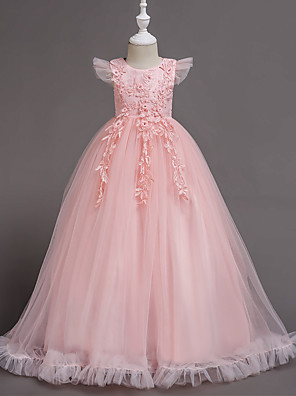 cheap Girls' Dresses-A-Line Floor Length Wedding / Party / Pageant Flower Girl Dresses - Polyester / Tulle Short Sleeve Jewel Neck with Bow(s) / Butterfly