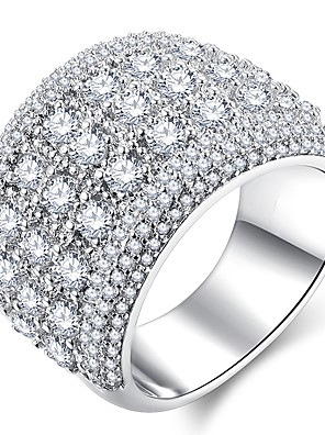 cheap Quartz Watches-Women's Ring Micro Pave Ring 1pc Silver Copper Platinum Plated Imitation Diamond Ladies Classic Hyperbole Wedding Party Jewelry Stylish Halo Pave Star Gypsophila Cute