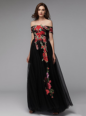 cheap Evening Dresses-A-Line Floral Blue Prom Formal Evening Dress Off Shoulder Sleeveless Floor Length Lace Over Tulle with Embroidery Appliques 2020