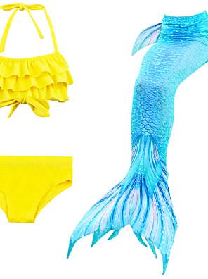 cheap Girls' Swimwear-Kids Girls' Active Sports Mermaid Tail The Little Mermaid Color Block Sleeveless Cotton Swimwear Blue