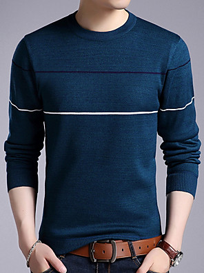 cheap Men's Sweaters & Cardigans-Men's Daily Striped Long Sleeve Regular Pullover Sweater Jumper, Round Neck Black / Blue / Red M / L / XL