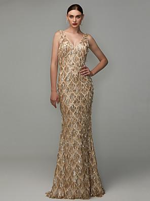 cheap Prom Dresses-Sheath / Column Elegant & Luxurious Elegant Pastel Colors Formal Evening Military Ball Dress V Neck Sleeveless Floor Length Sequined with Sequin Tassel 2020