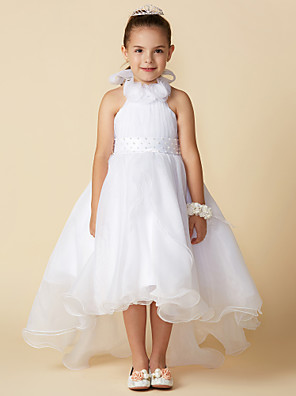 cheap Cocktail Dresses-A-Line Asymmetrical Wedding / First Communion Flower Girl Dresses - Organza Sleeveless Halter Neck with Bow(s) / Pleats