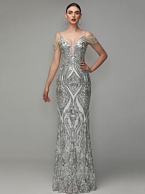 cheap Evening Dresses-Sheath / Column Elegant Beaded & Sequin Prom Formal Evening Dress V Neck Short Sleeve Floor Length Sequined with Beading Sequins 2020