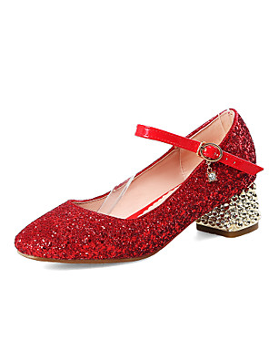 cheap Sexy Bodies-Girls' Heels Flower Girl Shoes PU Stiletto Heels Big Kids(7years +) Buckle Red / Gold / Silver Spring / Party & Evening / Rubber