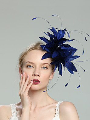 cheap Wedding Slips-Feathers Fascinators with Feather / Solid 1pc Wedding / Special Occasion / Horse Race Headpiece