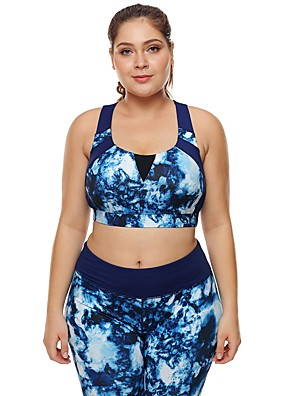 cheap Bras-Women's Sports Bra Top Bra Top Running Bra Seamless Spandex Zumba Yoga Running Plus Size For Large Breasts Breathable High Impact Freedom Padded High Support Blue Print / Stretchy / Skinny