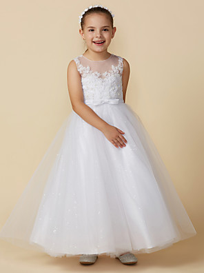 cheap Junior Bridesmaid Dresses-Princess Ankle Length Wedding / First Communion Lace / Tulle Sleeveless Boat Neck with Lace / Bow(s)