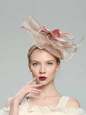 cheap Prom Dresses-Flax Fascinators with Net 1pc Wedding / Special Occasion / Horse Race Headpiece