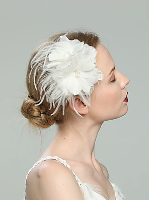 cheap Fascinators-Feathers Fascinators with Feather / Solid 1pc Wedding / Special Occasion / Horse Race Headpiece