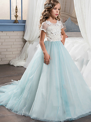 cheap Flower Girl Dresses-Princess Long Length Wedding / Party / Pageant Flower Girl Dresses - Lace / Tulle Short Sleeve Jewel Neck with Appliques / Splicing
